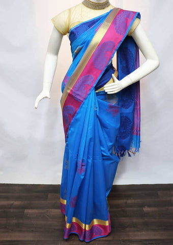 Anandha Blue with Purple Pure Silk Cotton Saree - FV10390 ARRS Silks