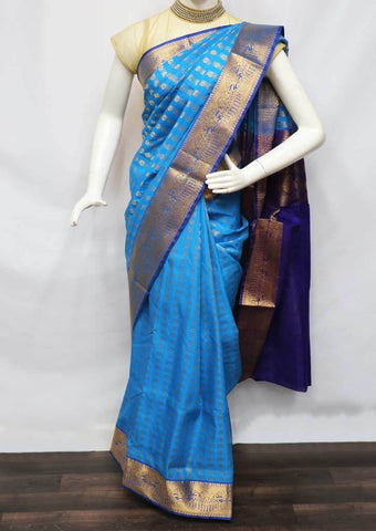 Anandha Blue With Purple Silk Cotton Saree - FV19893 ARRS Silks