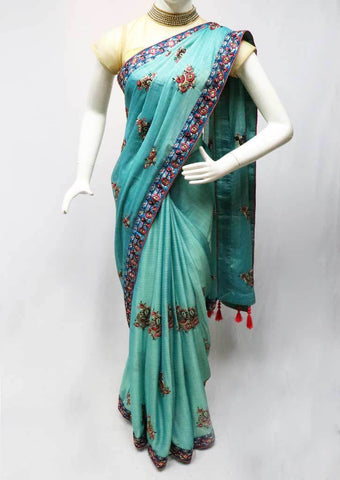 Aqua Green Chiffon Saree-FR83330 ARRS Silks