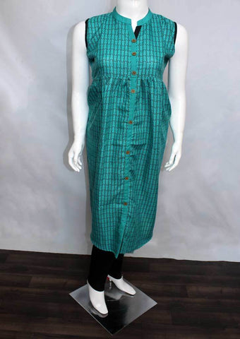Aqua Green Colour with Black Printed Cotton Kurti - FO71613 ARRS Silks