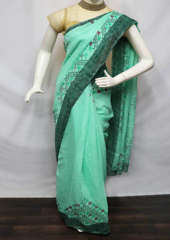 Aqua Green Linen  Saree - FV32201 ARRS Silks