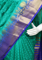 Aqua Green with Blue Pure Raw Silk Saree - 006 ARRS Silks