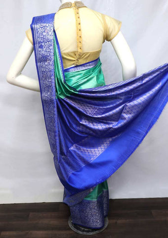 Aqua Green with Blue Pure Raw Silk Saree - FM94033 ARRS Silks
