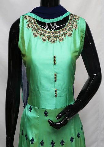 Aqua Green with Blue Readymade Salwar- FU64053 ARRS Silks