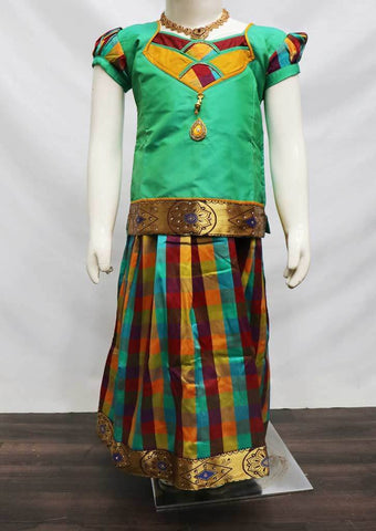 Aqua Green with Multi color  Pattu Pavadai - FR21967 (Size: 6 Years) ARRS Silks