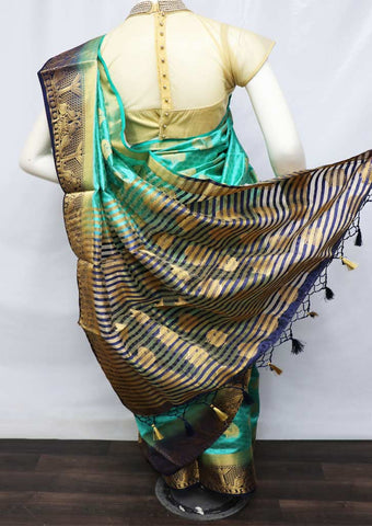 Aqua Green With Navy Blue Semi Raw Silk Saree - HBN001 ARRS Silks