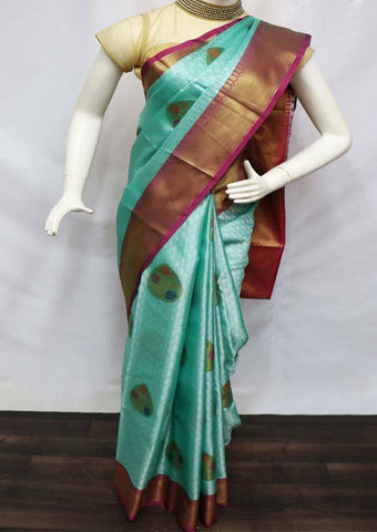 Aqua Green with Pink Organza Cotton Sarees- FV26125 ARRS Silks