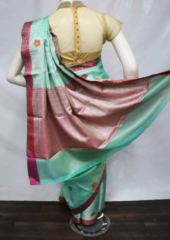 Aqua Green with Pink Organza Cotton Sarees- FV5147 ARRS Silks