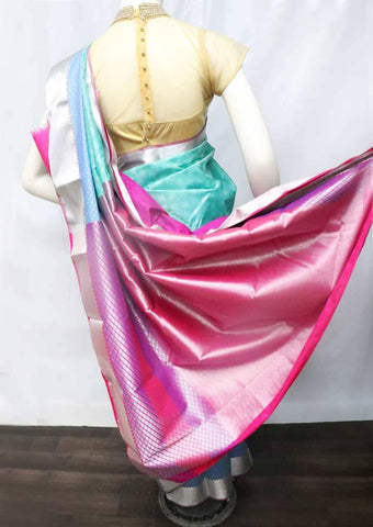 Aqua Green with Pink Semi Silk Saree - FS33153 ARRS Silks