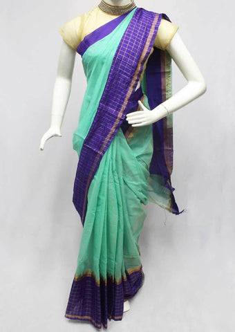Aqua green with Violet Silk Cotton Saree - FR82844 ARRS Silks