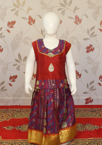 Red with Lavender Art Silk Pavadai