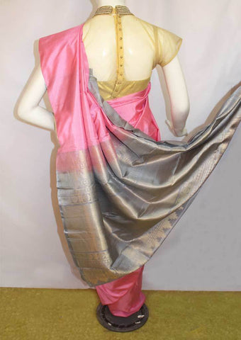 Baby Pink With Gray Soft Silk Saree -FL85902 ARRS Silks
