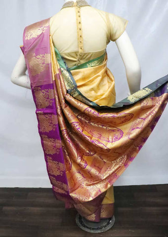 Beige Color with Violet Semi Silk Saree - FS7603 ARRS Silks