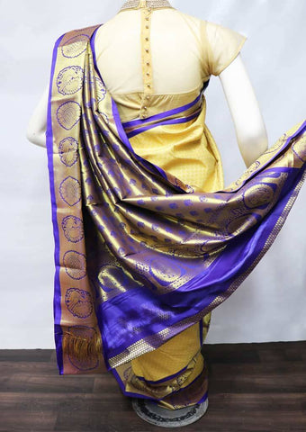 Beige with Blue Semi Silk Saree - FV2421 ARRS Silks