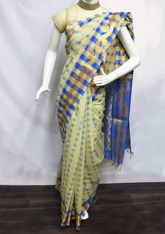 Beige with Blue Silk Cotton Saree - FU21460 ARRS Silks