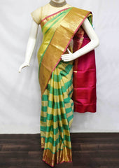 Beige With Green and Pink Kanchipuram Silk Saree -FF18425 ARRS Silks