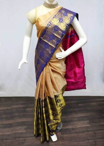 Beige with Navy Blue  Kanchipuram Silk Saree -FH932 ARRS Silks