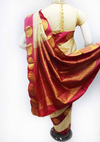 Beige with Pink Kanchipuram Silk Saree - FJ19008 ARRS Silks