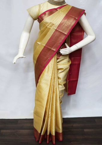 Beige with Pink Organza Cotton Sarees- FV26062 ARRS Silks