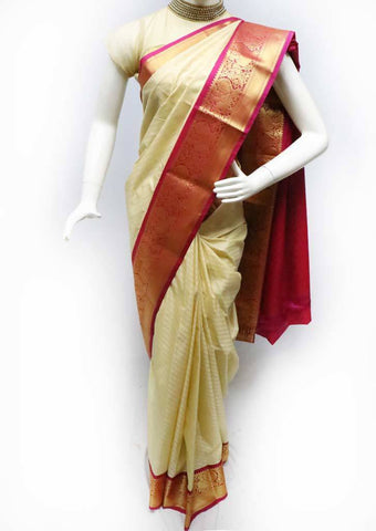 Beige with Pink Semi Silk Saree- FS43800 ARRS Silks