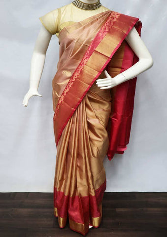 Beige with Pink Soft Silk Saree - FU44118 ARRS Silks