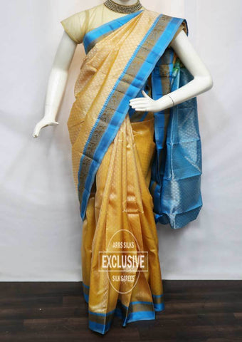Beige With Sky Blue Kanchipuram Silk Saree - EN14817 ARRS Silks