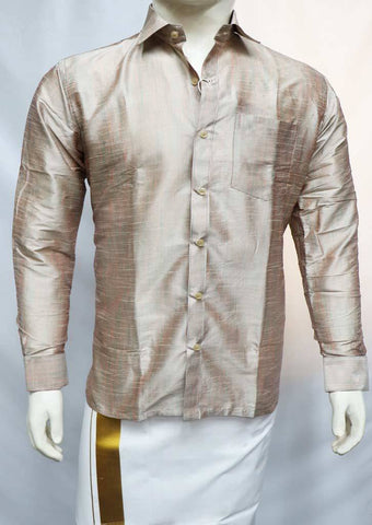 Biscuit Color Full Hand Silk Cotton Shirt - SAU1921 ARRS Silks