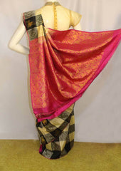 Black and Half white Checked Kanchipuram Silk Saree - FM92090 ARRS Silks