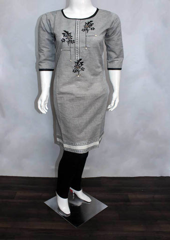 Black and Half white Cotton Kurti - FO70516 ARRS Silks
