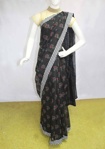 Black Chanderi Cotton Saree - FN18368 ARRS Silks