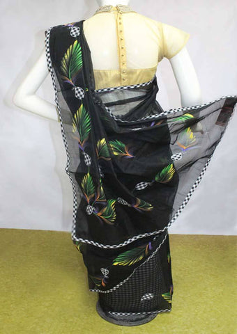 Black Chanderi Cotton Saree - FN18396 ARRS Silks
