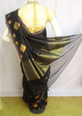 Black Organza Cotton Sarees- F087557 ARRS Silks