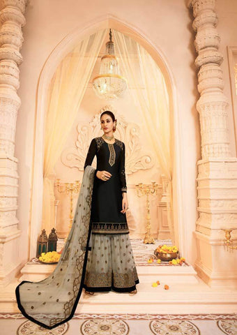 Black Satin Georgette Grand Chudi Material -FQ67209 ARRS Silks