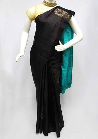 Black with Blue Soft Silk Saree -FQ111181 ARRS Silks