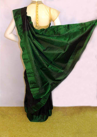 Black with Bottle Green Kanchipuram Silk Saree - FM89867 ARRS Silks