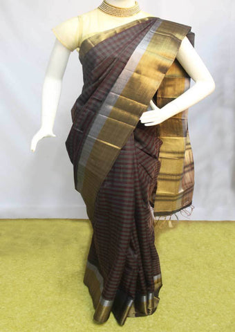 Black with Golden Semi Raw Silk Saree-FO5451 ARRS Silks