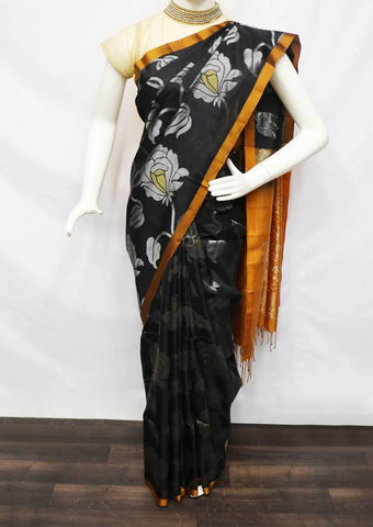 Black with Mustard Orange Soft Silk Saree - FQ110861 ARRS Silks