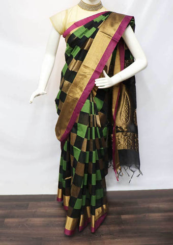 Black with Pink checked Silk Cotton Saree - FU30403 ARRS Silks