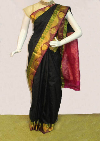 Black with Pink Kanchipuram Silk Saree - FM92118 ARRS Silks