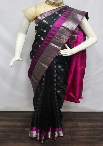 Black With Pink Kanchipuram Silk Saree - FQ31467 ARRS Silks