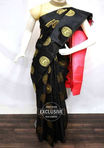 Black with Pink Kanchipuram Silk Saree - FV5225 ARRS Silks