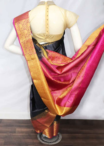Black with Pink Semi Raw Silk Saree - FT16517 ARRS Silks