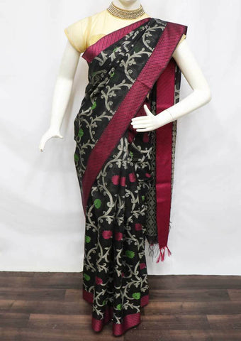 Black with Pink Silk Cotton Saree - FP39784 ARRS Silks