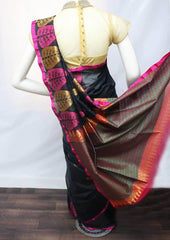 Black with Pink Silk Cotton Saree - FU21618 ARRS Silks Salem