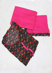 Black With Pink Unstitched Chudi- FM66525 ARRS Silks
