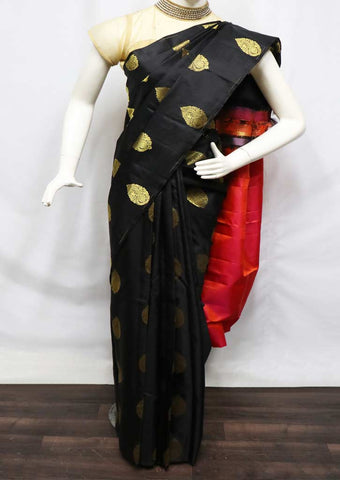 Black With Red and Orange Shade Kanchipuram Silk Saree - FV5200 ARRS Silks