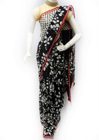 Black with White Color Printed Cotton Saree - FQ116547 ARRS Silks