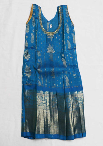 Blue Color Pure silk Stitched pattu pavadai - FX12613( Below 1 Year) ARRS Silks