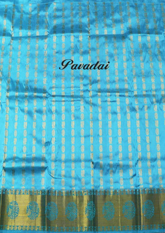 Blue  Color Pure silk Unstitched pattu pavadai - FU46123( Age-3 year to 6 years) ARRS Silks