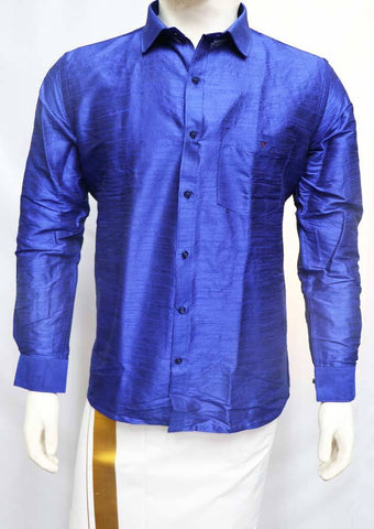 Blue Full Hand Silk Cotton Shirt- FT5896 ARRS Silks